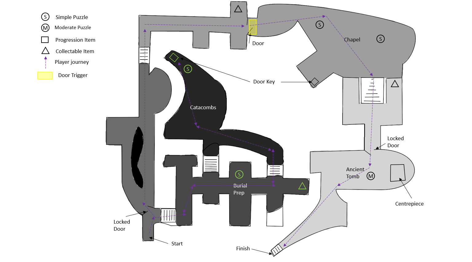 Underground Tomb Level 2D Map Annotated